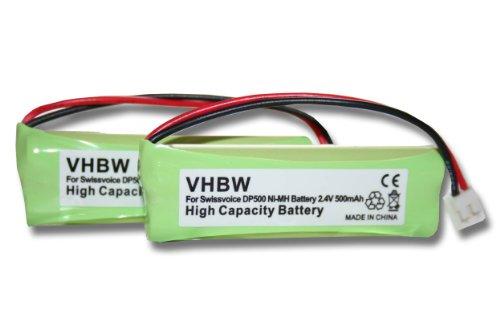 vhbw 2X NI-MH Akku 500mAh (2.4V) passend für Festnetz Telefon Medion MD83242,...