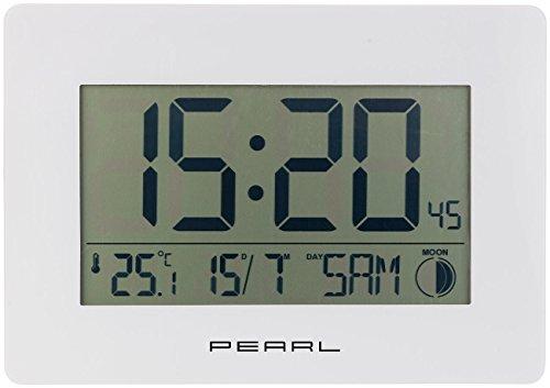 PEARL Digitale Funkwanduhr: Funk-Wanduhr mit Jumbo-Uhrzeit, Temperatur- &...