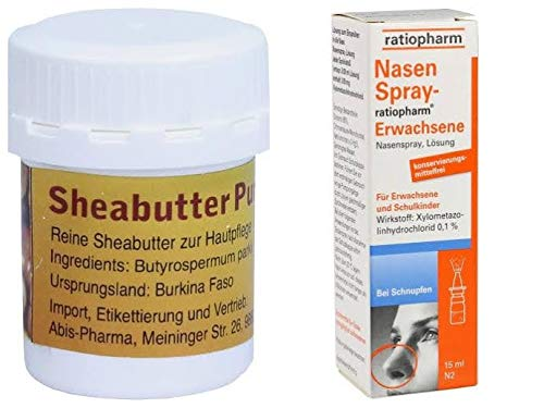 10x Nasenspray ratiopharm Erwachsene 15 ml und 1x Sheabutter pur Bio 20g -...