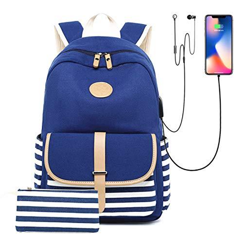 Noah Damen Rucksack aus Segeltuch mit USB-Ladefunktion für Kopfhörer, große...