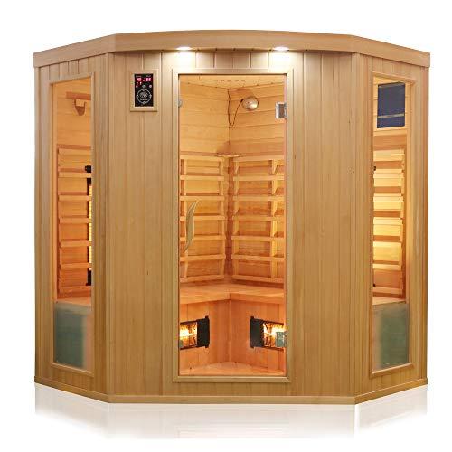 Dewello Infrarotkabine HALEY 160x160 für 2-4 Personen aus Hemlock Holz mit...