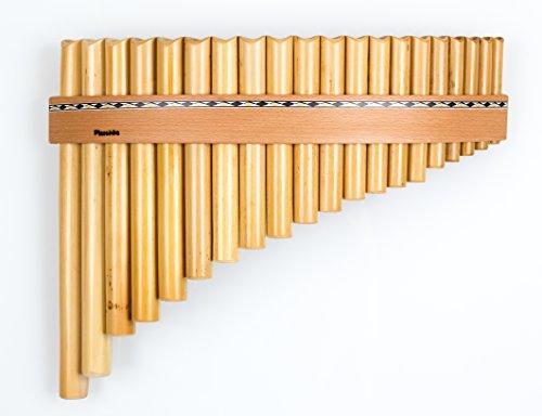 Panflöte aus Bambus mit 20 Töne-Rohre in C-Dur mit Holzriemen-Design,...