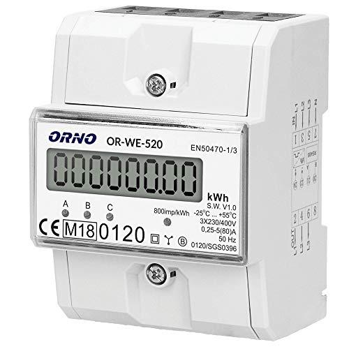 ORNO OR-WE-520 Stromzähler Hutschiene 3-Phasen-Anzeige des Stromverbrauchs mit...