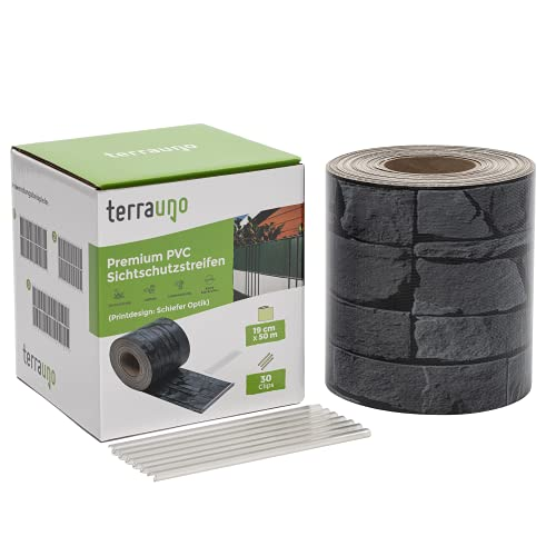 TerraUno - Premium Sichtschutzstreifen für Doppelstabmattenzaun - Gartenzaun I...