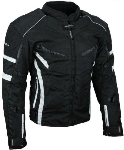 HEYBERRY Kurze Textil Motorrad Jacke Motorradjacke Schwarz Weiß Gr. L