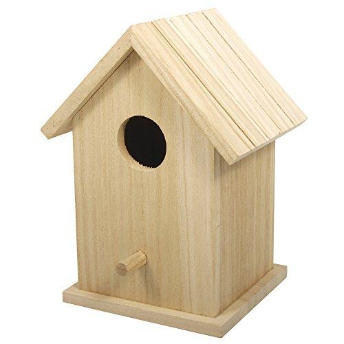 RAYHER 62291000 Holz Vogelhaus Box FSC Mix Credit, 12,5 x 10 x 17 cm, zweiteilig