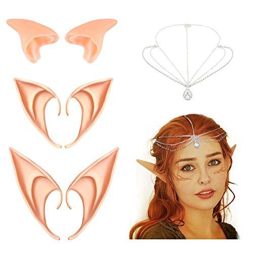 Elfenohren für Elfen kostüm Damen, Coolba 3 Paar Latex Spitze Ohren Elfe Feen...