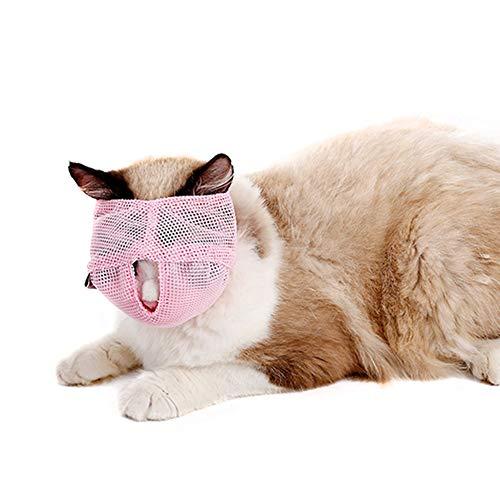 Abilieauty Cat Muzzles Atmungsaktives Netz Verhindern Sie das Beißen Kauen Anti...