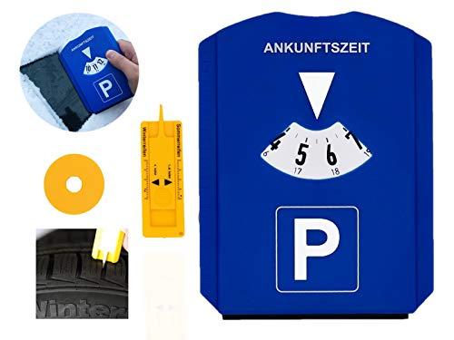 GibtPlus+ Parkscheibe 5 in 1 Parkuhr mit Reifenprofiltiefenmesser, Eiskratzer...