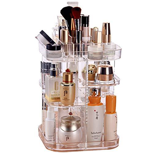WYBFBYQ Rotierende Makeup Organizer, 360-Grad-Kristall-justierbares Schmuck...