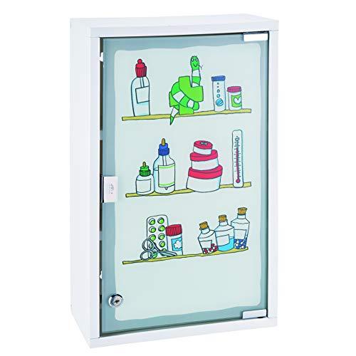 HI Medizinschrank Metall mit Glastür und Schloss (bedruckt) in Weiß -...