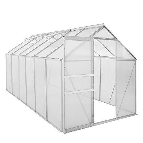 Zelsius Aluminium Gewächshaus für den Garten | 380 x 190 cm | 6 mm Platten |...