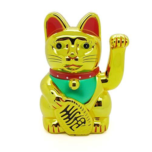 Glückskatze Winkekatze Glücksbringer Feng Shui Katze Maneki Neko (Gold...