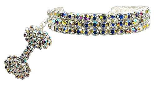 PETFAVORITES Fancy 3-reihige Strassstein-Halskette für Haustiere, Katzen,...