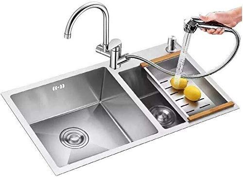 Kitchen Sink 2 Schüssel-Edelstahl-Küche-Wannen-Paket-Küche-Bassin...