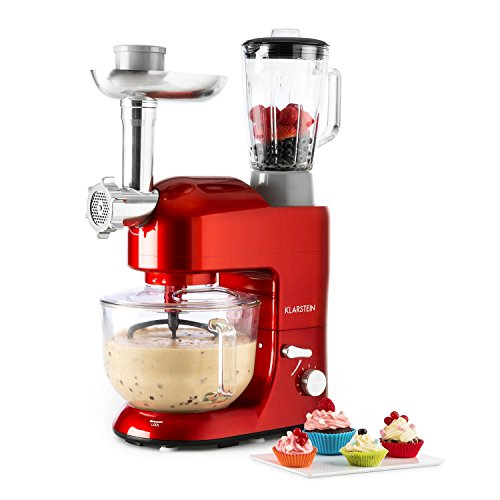 Klarstein Lucia Rossa 2G - Universal Küchenmaschine, Rührmaschine, 1200 W, 5,2...
