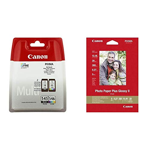 Canon PG-545/CL-546 Tintenpatronen + Canon PP-201 Photo Paper Plus glossy 13x18