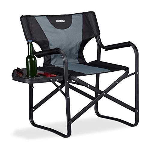 Relaxdays, schwarz-grau Regiestuhl mit Tisch, klappbarer Campingstuhl für...