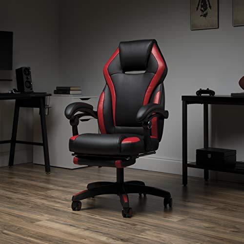 OFM Gaming-Stuhl mit Fußstütze, Lederfaserstoff, Rot