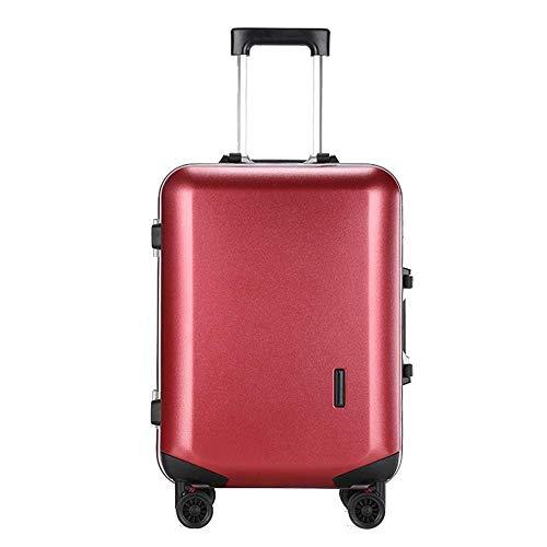 Trolley Koffer Ultraleicht ABS Hardshell Reisekoffer mit 4 Rollen Gr. 46, rot