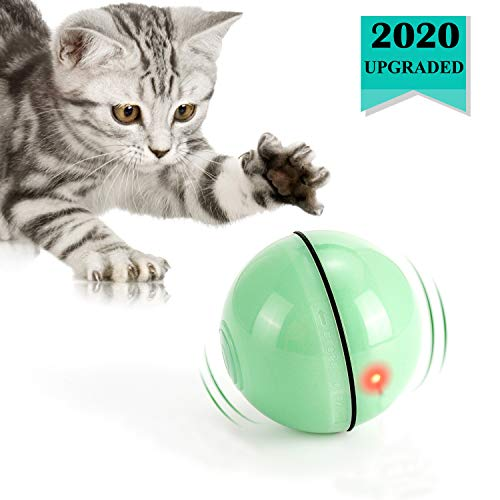 WWVVPET Interaktives Katzenspielzeug Ball mit LED-Licht, selbstdrehender...
