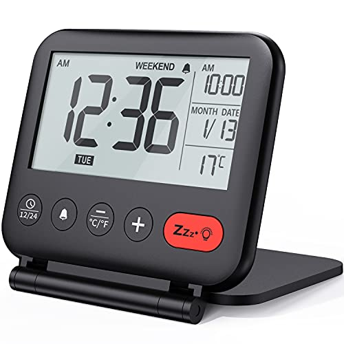 NOKLEAD Mini Digital Wecker - klein modern reisewecker mit temperaturanzeige,...