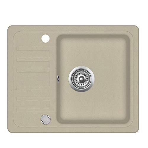 Granit Einbauspüle Küchenspüle Spülbecken Spüle mit Abtropffläche beige...