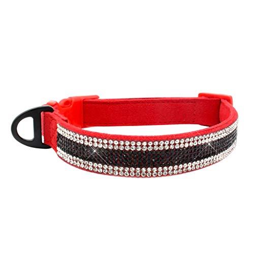 Yowablo Haustier Hundehalsband verstellbares Halsband Welpen Katze Strass Hals...