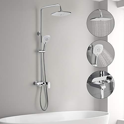 3-Funktion Duschsystem mit Armatur, WOOHSE Duschset Duschsäule mit Duschregal...