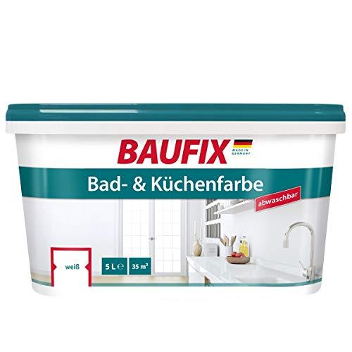 BAUFIX Bad- und Küchenfarbe, 5 Liter, Badfarbe weiß antischimmel, Küchenfarbe...