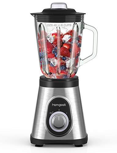 Standmixer Smoothie Mixer, homgeek 1.5L Glas Smoothie Blender, 700 watt...