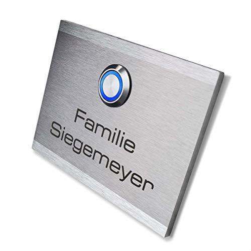 Metzler Türklingel mit Gravur - mit LED-Taster (verschiedene Farben wählbar) -...
