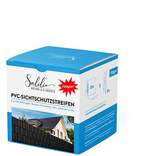 Salilio Zaun Sichtschutzstreifen für Doppelstabmatten - 35m 35Clips 700g...