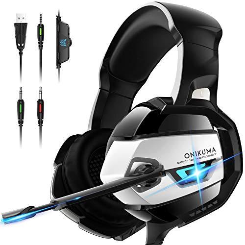 ONIKUMA PC Headset, Gaming Headset mit Geräuschunterdrückung & Mic PS4 Headset...