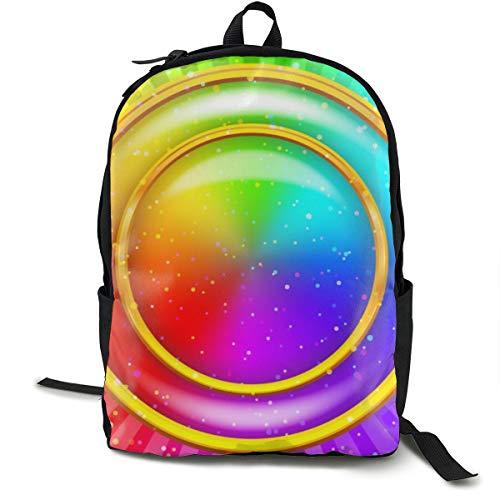Osmykqe Schultertasche für Damen und Herren, Regenbogen-Hintergrund 0 Daypack