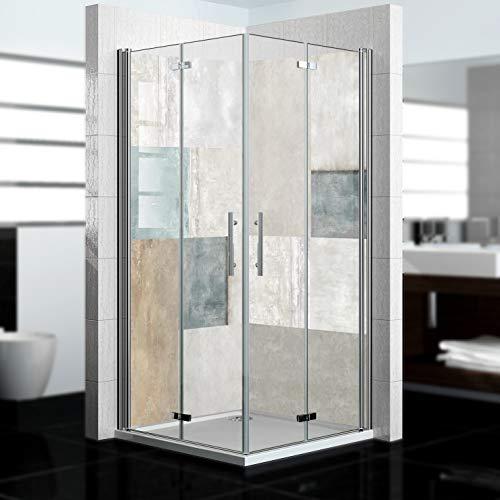 dedeco Eck-Duschrückwand wasserfest mit Stein Motiv - 2 x 90x200 cm, als...