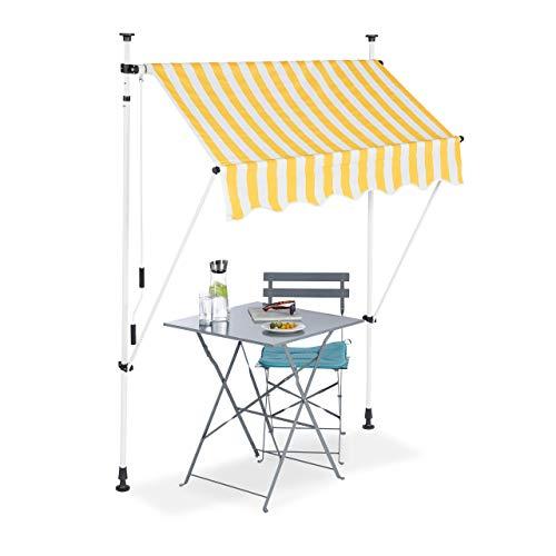 Relaxdays Klemmmarkise, Balkon Sonnenschutz, einziehbar, Fallarm, ohne Bohren,...