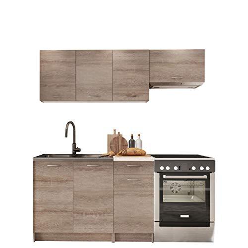 Küche Mela 180/120 cm, Küchenblock/Küchenzeile, 5 Schrank-Module frei...