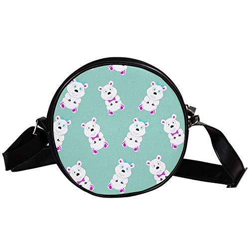 DEYYA Damen Handtasche mit lustigen Cartoon-Eisbären, rund, Umhängetasche,...