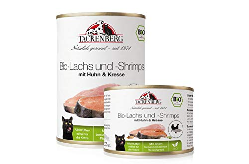 Tackenberg Katzenfutter, Nassfutter, 100% Bio Lachs + Shrimps + Huhn + Kresse,...