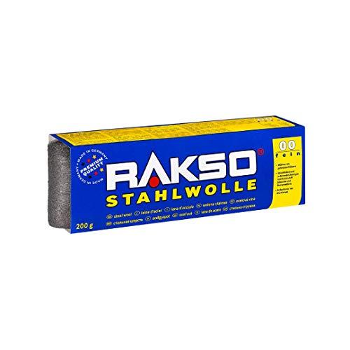 RAKSO Stahlwolle Banderole 200g fein 00 glättet Hölzer, Reinigung...