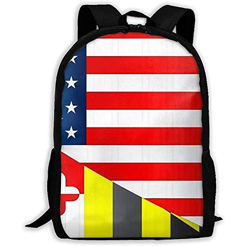 Lmtt Rucksack Flagge der USA und Maryland State Bookbag Casual Reisetasche für...