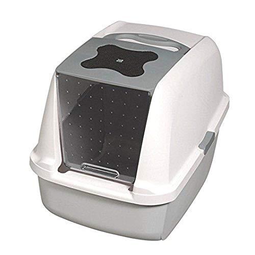 Catit Katzentoilette mit Abdeckung, weiß/grau