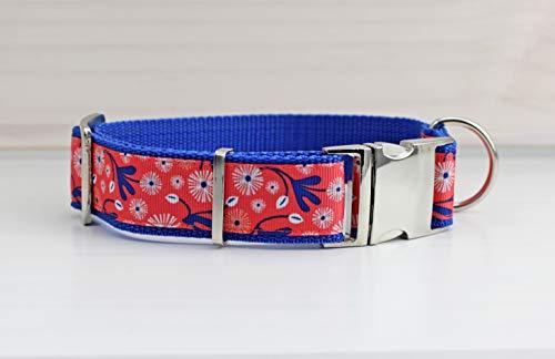 Hundehalsband mit Blumen, floral, romantisch, rosa und beige, Gurtband in beige,...