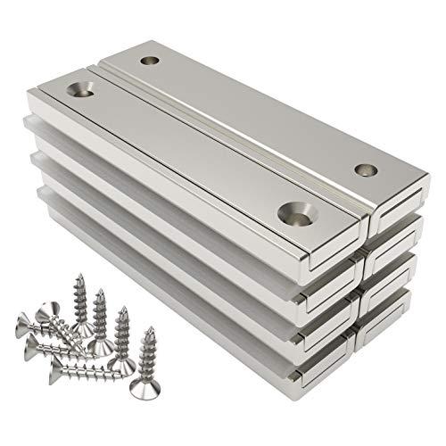 Magnetpro 8 Stück Rechteckmagnete 30 KG Kraft 60 x 13,5 x 5 mm mit Senkloch und...