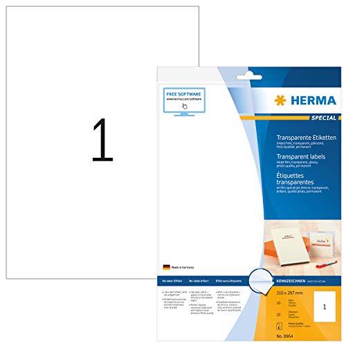 HERMA 8964 Folien-Etiketten für Inkjet Drucker DIN A4 transparent (210 x 297...