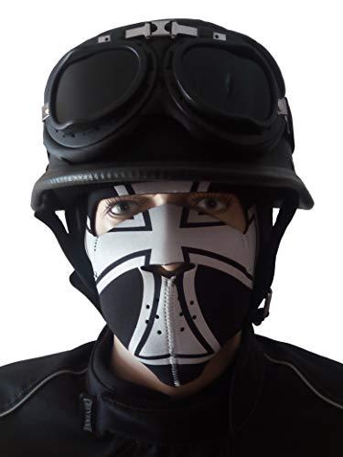 CHEYENNE Oldtimer Motorradhelm mit Fliegerbrille u. Maske Eisernes Kreuz...