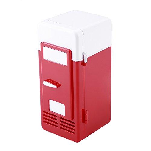 Acouto Tragbarer Mini-Kühlschrank, LED-Mini-USB-Kühlschrank,...