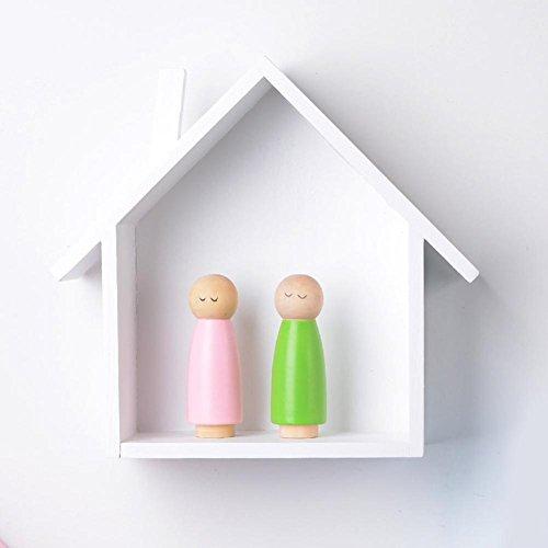 Dadahuam Zierliches Haus-Form-Wand-Regal-Anzeigen-hängendes Fach here