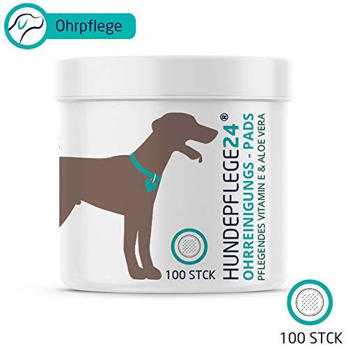 HUNDEPFLEGE24 Hunde Ohren-Reinigungspads - 100 Stück - Natürlicher...